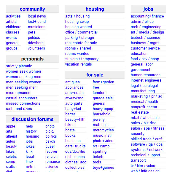 Craigslist OC classified site
