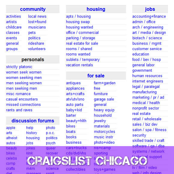 Craigslist Chicago | www.Craigslist.com Chicago ...