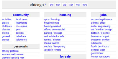 www.craigslist.com chicago home page