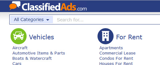 classifiedads.com website screenshot