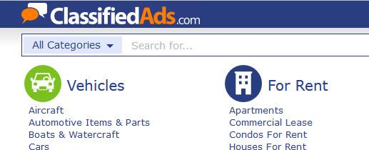classifiedads.com website screenshot